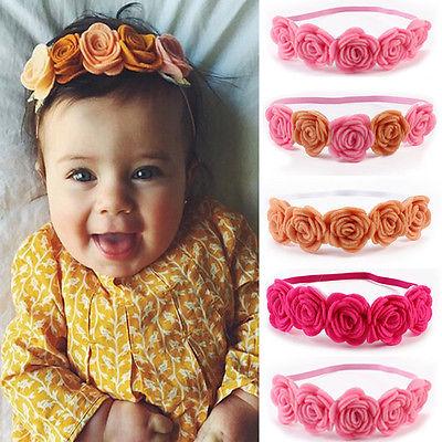 Cute Newborn Baby Girls Infant Toddler Crown Flower Headband Hair Band Headwear