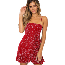 New Ruffle Detail Self Tie Wrap Slip Mini Dress Women Boho Sleeveless One word Neck Summer Dress Ladies 2019 Slim Beach Dress цена 2017