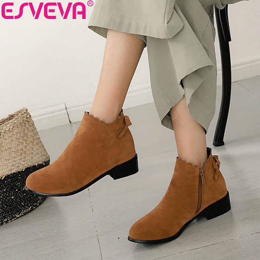 ESVEVA 2019 Kışlık Botlar Süet Kadın Yuvarlak Ayak kelebek-düğüm Ayakkabı Kadın yarım çizmeler Kare Med Topuklu Tatlı Tarzı Ayakkabılar 34-43