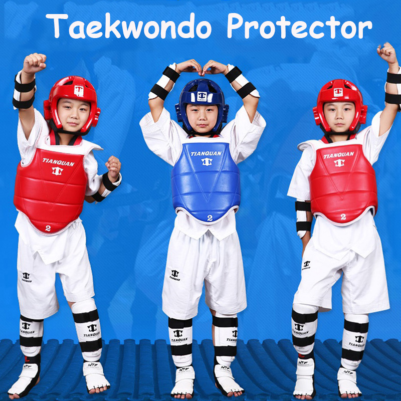 Taekwondo Protector 5pcs/set WTF ITF Thicken Helmet Chest Arm Shin Guard Joelheira Equipment For Karate Japan Judo Wesing Kungfu tkd wtf approved taekwondo sparring gear set helmet forearm shin protector & free double chest guard groin guard bag gift
