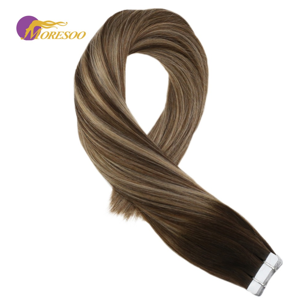 Moresoo Tape In Hair Extensions Color Brown #3 With #6 Highlight With #16 Machine Remy Brazilian Human Hair 2.5g/pcs 16-24 Inch