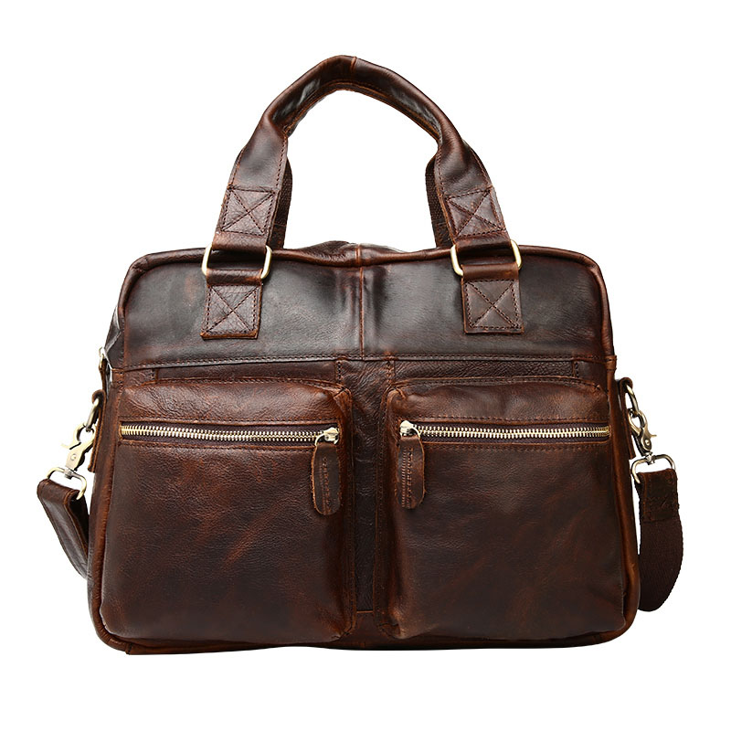 Guaranteed 100% Natural Genuine leather men briefcase Bags business travel bag men shoulder bags vintage men bags guaranteed 100