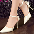 QUTAA 2015 Ladies Simple Style Work or Date Shoes High Heel Ankle Strap Pumps Candy Colors Pink Blue Beige Size 34-43