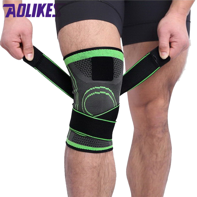 AOLIKES 1 Pcs Outdoor Sport Knee Support Protector Strap Pressurized Adjustable Knee Pad For Cycling Basketball mtb Bike Fitness