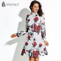 Vintacy 2017 Automne Hiver Long Manteau Femmes Plus Taille Blanc Imprimé floral Rouge Rose Fleur Outwear Jacquard Élégant Dames Pardessus