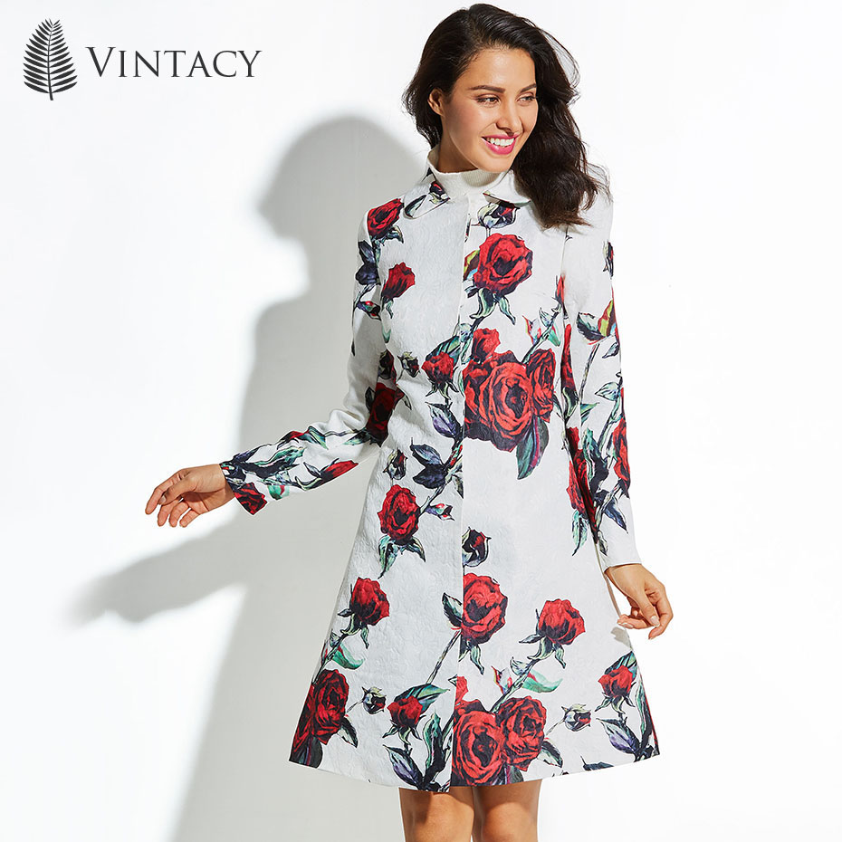 Vintacy 2017 Autumn Winter Long Coat Women Plus Size White Floral Print Red Rose Flower Outwear Jacquard Elegant Ladies Overcoat ladies consultation coat white size 14 1 each model 88018qhw14