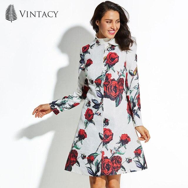 cbddb877fe6b Vintacy 2018 Autumn Winter Long Coat Women Plus Size White Floral ...