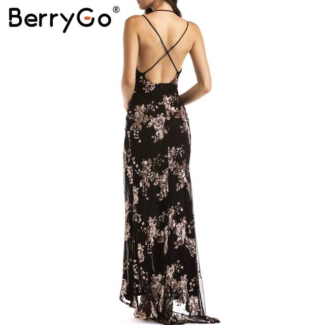 placeholder BerryGo Sexy lace up halter sequin party dresses women Backless  high split maxi dress womens clothing 8b22edda9f37