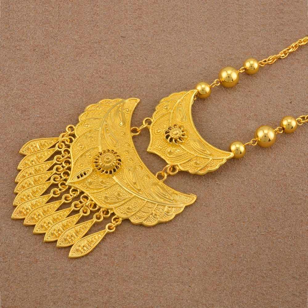 Anniyo ערב הסעודית שרשרות זהב צבע תליון המזרח התיכון דובאי תכשיטי מתנות לנשים #119206