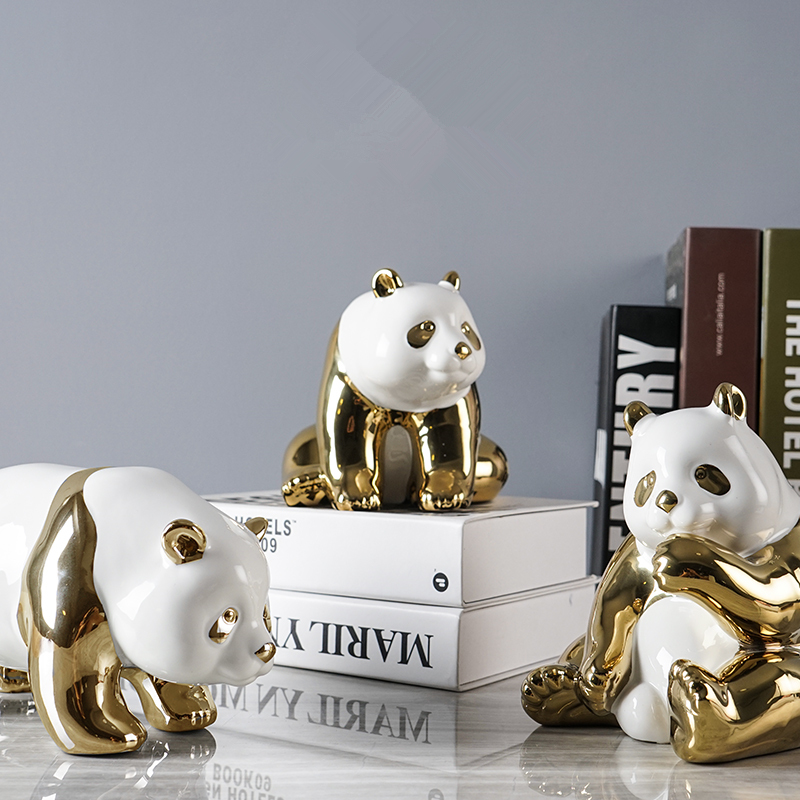 Hot Gold plated Cute Panda Family Porcelain Decoration Home Decorations Crafts Ceramic Crafts Electroplating Valentine s