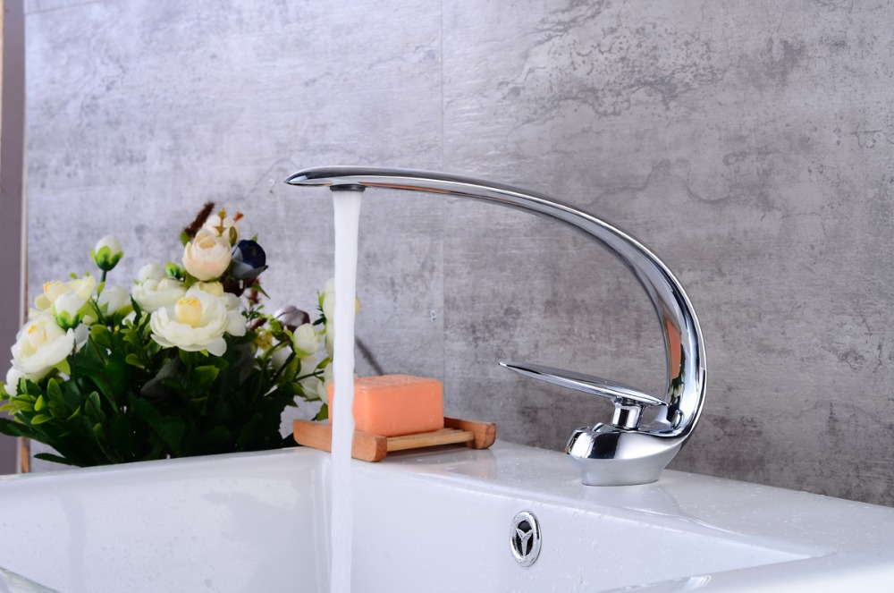 Tall Contemporary Chrome Bathroom Vessel Sink Faucet: Free Ship Modern Chrome Bathroom Sink Vessel Faucet Deck