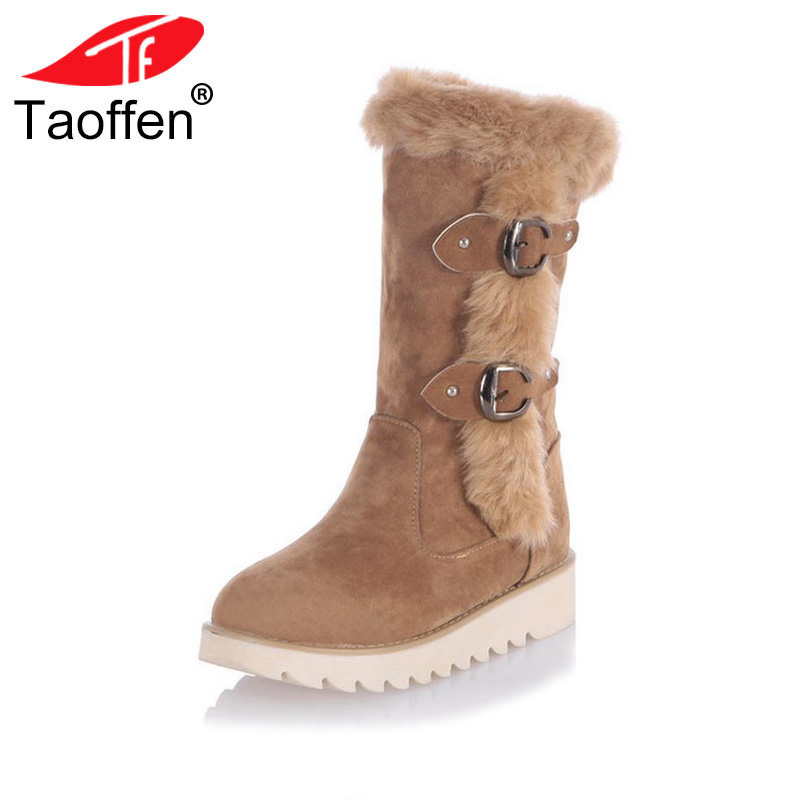 TAOFFEN Size 31-43 Gladiator Snow Boots Women Flats Half Short Boot Ladies Warm Plush Winter Mid Calf Boots Footwear Shoes Woman plus size 34 47 new autumn winter plush women boots mid calf snow boots woman keep warm mother botas butterfly flats roman shoes