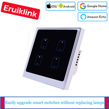 Ewelink APP Control Wifi Switch EU / UK Standard 4 Gang 1 Way Light Switch Wall Touch Smart Switch via Android/IOS Control недорого