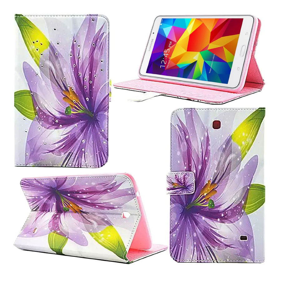 For Samsung tab 4 8.0 Case Leather 2016 Luxury Diamond  Book Skin Cover for Samsung Galaxy Tab 4 8.0 Tablet T330 7 Styles luxury 7 flower pug tablet pu leather flip stand tablet book cover case for samsung galaxy tab 4 tab4 7 0 t230 t231 t235 z1