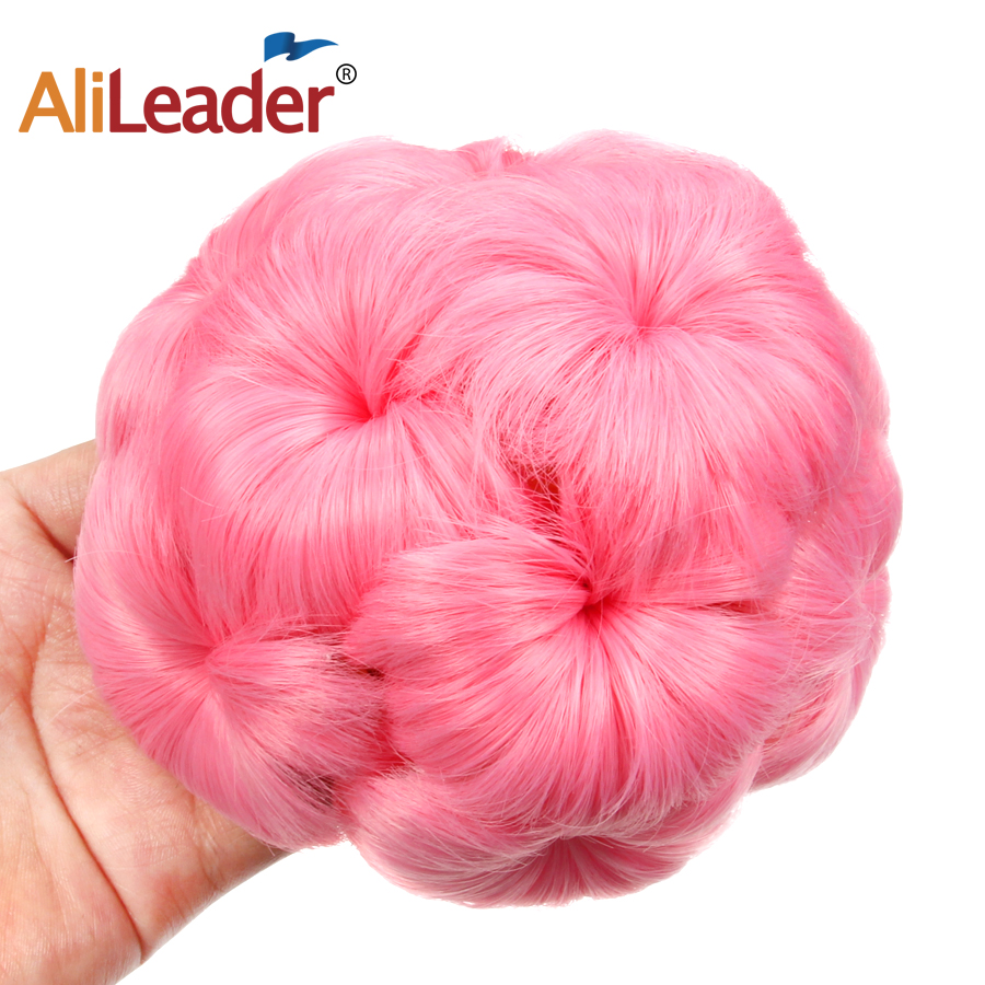 AliLeader 9Flowers Roller Clip-In Synthetic Chignon Bun Hairpiece For Women Black/Brown/Red/grey High Temperature Fiber ...