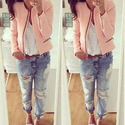Women Autum Winter Casual Slim Zipper Long Sleeve Cotton Outerwear Jacket Coat Top