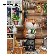 ZOOYA 5d Diy Diamond Painting Crystal Diamond Painting Needlework Kits For Embroidery Cross Stitch Mosaic Kit Cartoon Cat M58