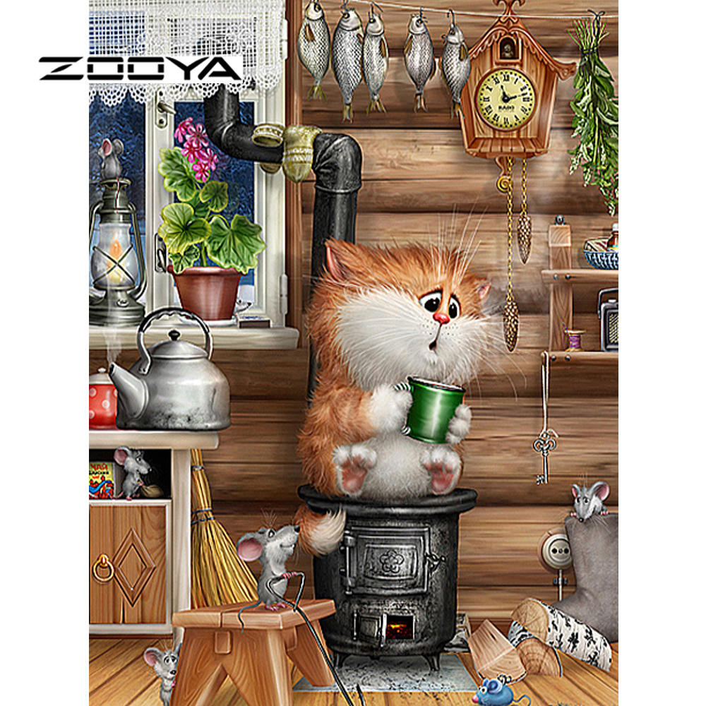 ZOOYA 5d Diy Diamantmålning Kristall Diamantfärg Needlework Kits För Broderi Korsstygn Mosaic Kit Cartoon Cat M58