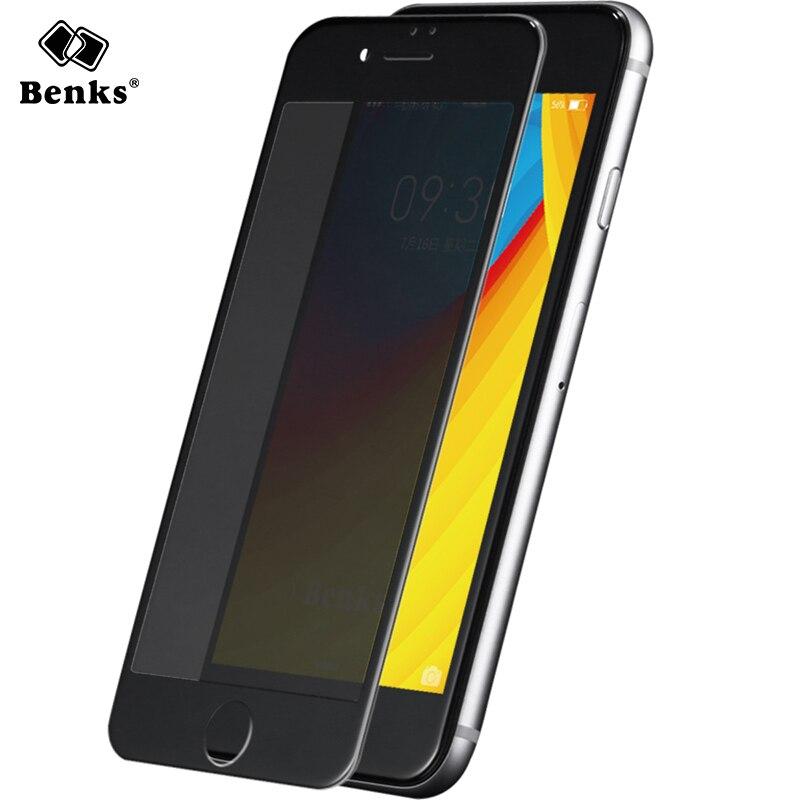 imágenes para Benks Templado protector de pantalla Anti Espía para iPhone 7 6 6 s más Suave 0.23mm 3D Curva Completa Cubierta Protectora Película de Vidrio Templado