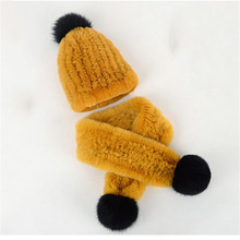 Kids Winter Scarf PomPom Baby Scarf Winter Natural Rex Rabbit Fur Cap Boys Girls Warm Neck Warmer Scarves Fur Ball  Two-Piece multi function winter warm scarves soft beanies hat cap female girls red ring scarf mask chunky circle loop scarves neck warmer