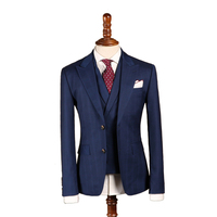 Wool Dark Blue Custom Made Men Suit Groom Tuxedos Tailor Made Slim Fit Wedding Suits For