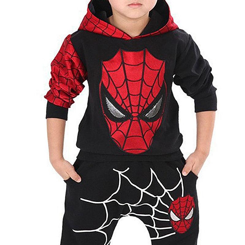 2-9 Y Children Halloween Christmas Clothing Boys <font><b>Spider-Man</b></font> Set <font><b>Hoodies</b></font> And Trousers Hooded Cartoon Print Fashion Black Blue Set