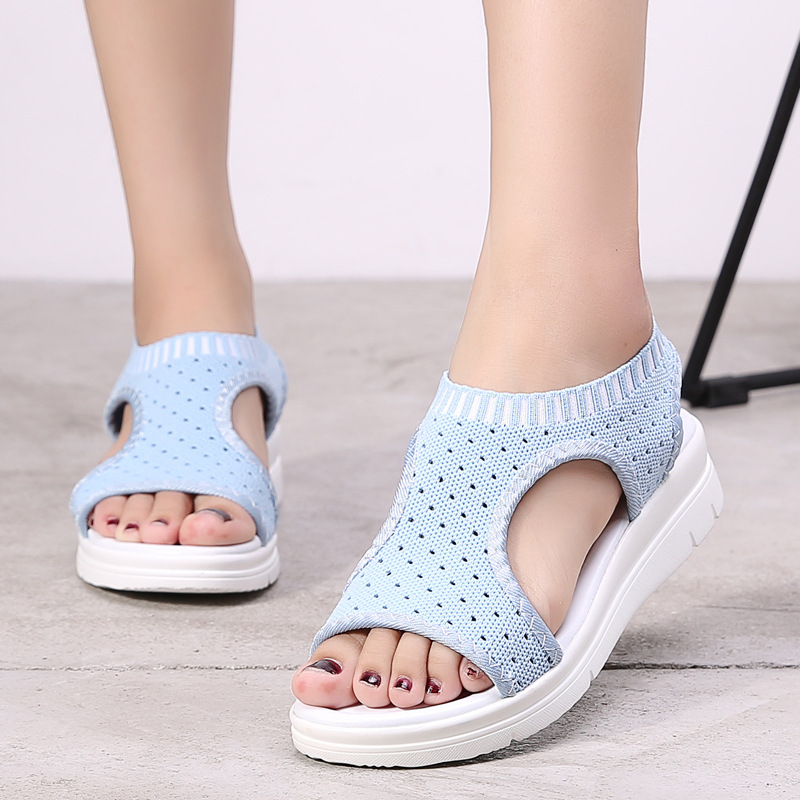Plus Size Summer Women Sandals Platform Soft Bohemia Gladiator Sandals Female Flip Flops Ladies Footwear Women Shoes ADG21 in Middle Heels from Shoes