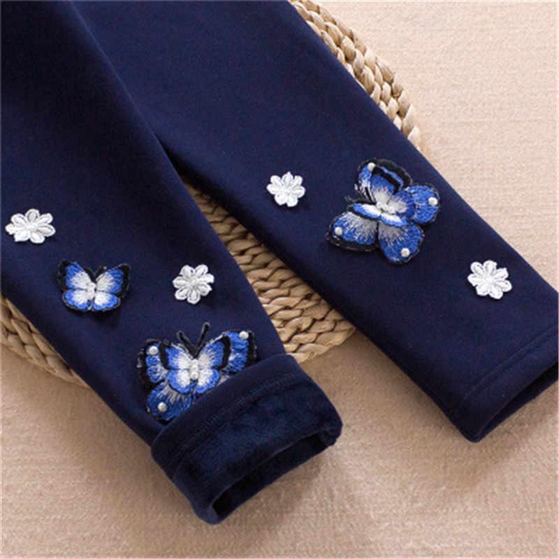 新到着冬レギンス蝶デザイン鉛筆パンツ子供厚みウールのズボン幼児ガールレギンス A3042