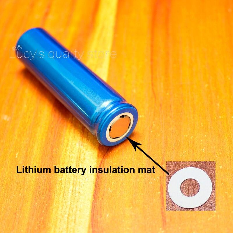 Купить с кэшбэком 100pcs/lot 18650 Lithium Battery Positive Hollow Tip Insulation Pad Indigo Paper Fast Insulation Pad Meson Battery Accessories