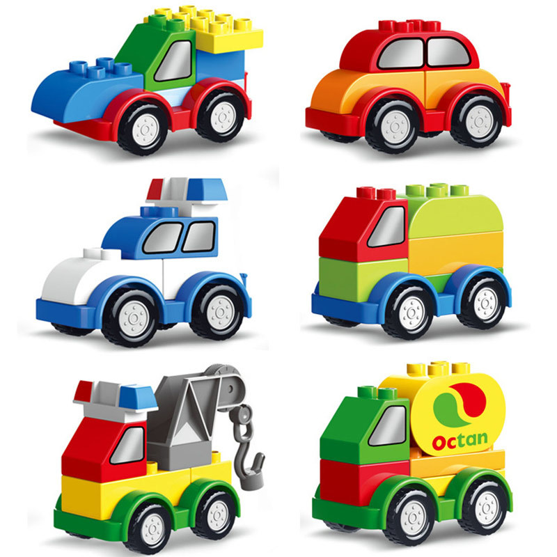 6 Styles Single Sale Big Size Bricks Compatible With Legoingly Duplo Cars Building Blocks Early Education