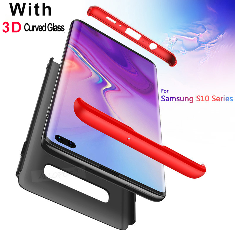 3D Curved Glass Case For Samsung Galaxy S10E S10e Cover 360 Degree Armor Shockproof Case For Samsung S10 e S10 Plus Glass Case in Fitted Cases from Cellphones Telecommunications