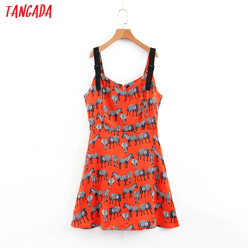 Women's Clothing Modest Tangada Women Sundress Animal Print Red Dress Sleeveless Korean Fashion 2019 Summer Mini Dresses Mini Street Wear Brand Sl254