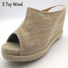 Verano Nuevos zapatos de Tacón Alto Inferior Del Mollete Zapatillas de lino Zapatillas de Plataforma Cuñas de Moda Femenina dedo del pie Abierto deslizadores de Las Mujeres