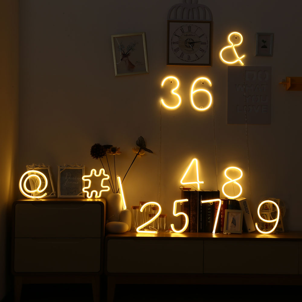 Us 8 13 37 Off Led Night Lights Number Shape Aa Battery Ed For Kid Lamp Handcrafted Decorate Room Neon Light Sign Indoor Christmas In