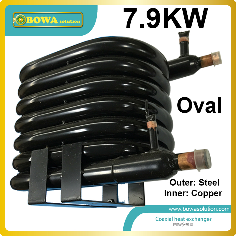 7.9KW steel outer pipe and copper inner pipe tube in tube condenser suitable for 2HP household DWH or water chiller 10x1mm soft coil copper tube pipe air conditioner refrigeration systems