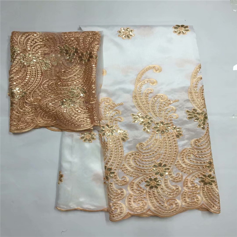 African Nigerian George Lace Fabric With Net Lace For Women Blouse Sewing India embroidery Guipure George Material LXE062450