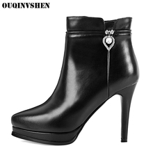 OUQINVSHEN Pointed Toe Thin Heels Women's Boots Casual Fashion Winter Crystal Platform High Heels Ankle Boots Zipper Women Boots