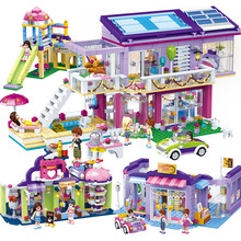 808PCS Girls Blocks Toys Playground Coffee Building Sets Friends Bricks Children Educational