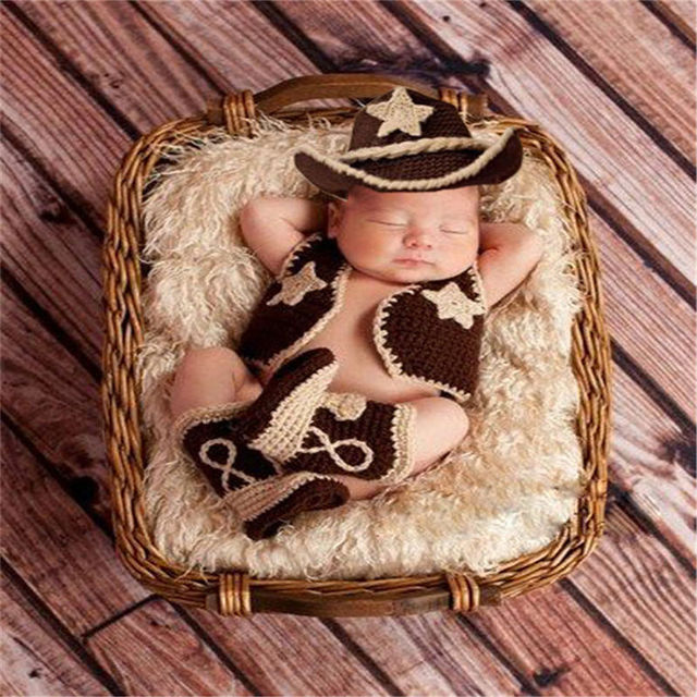 Newborn-24Months Charming Crochet Cowboy Cowgirl Hat+Boots+Vest Jacket Baby  Girl Boy Knitted Clothes Infant Photo Props Outfits 1815c02da779