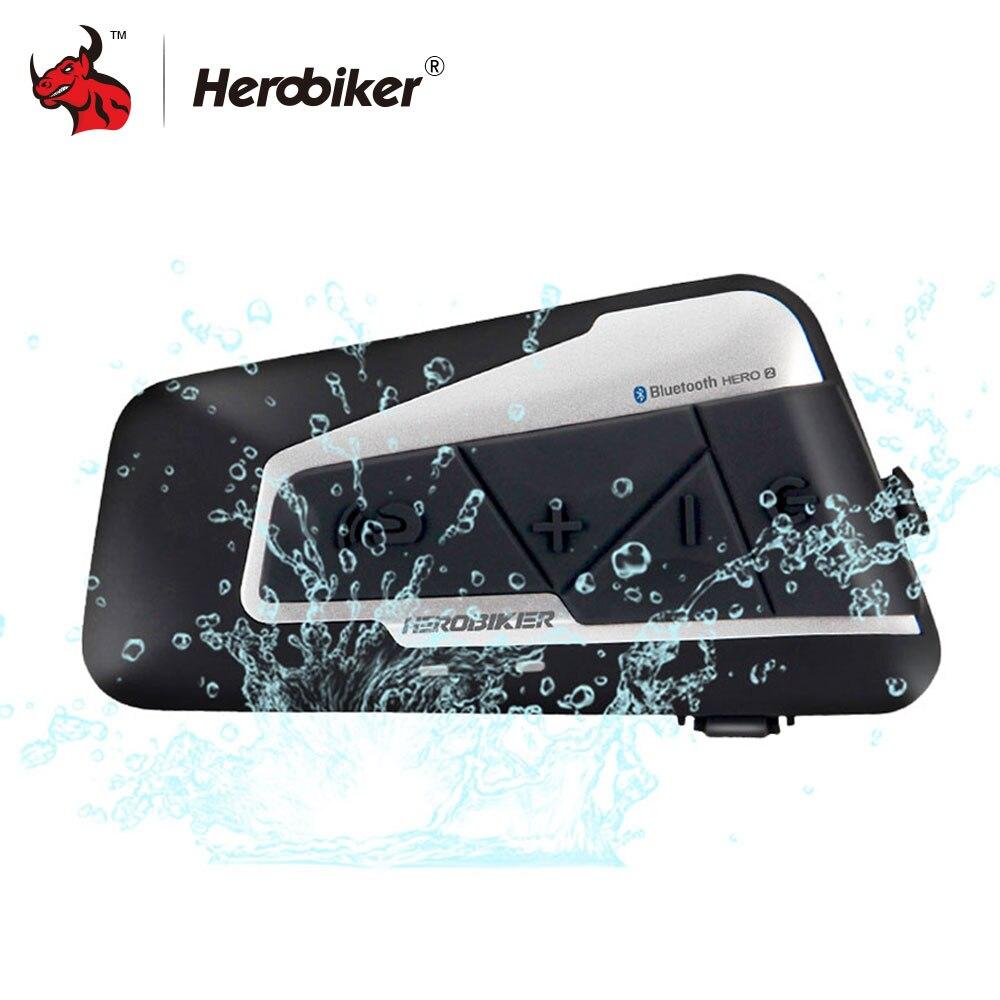 HEROBIKER 1200 м Bluetooth Интерком мотоциклетный шлем переговорные гарнитура Водонепроницаемый Беспроводной Bluetooth гарнитуры Мото Переговорные