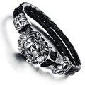 30PCS/lot Men vintage jewelry steam punk skull leather bracelet hand woven bangle in black fashion items wholesale