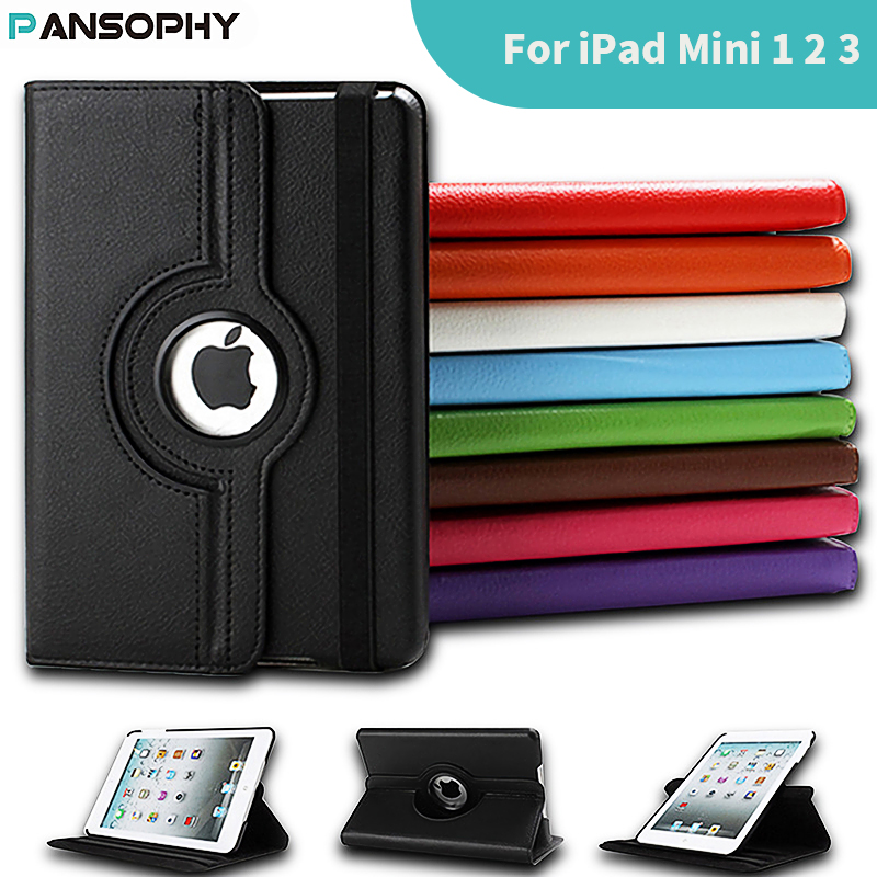 360 graden roterende stand case voor ipad mini 1 2 3 case pu lederen smart flip cover voor funda ipad mini case cover slaap / wake