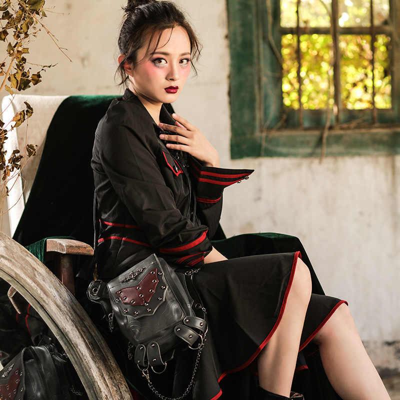 Đinh Tán cổ điển Túi Steam Punk Retro Rock Gothic Retro Túi Goth Vai Eo Túi Gói Victoria Phong Cách Phụ Nữ Người Đàn Ông Chân túi
