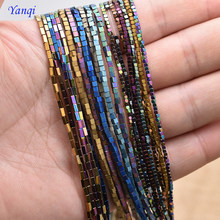 2mm Shining Natural Stone Hematite Loose Spacer Square Beads Plated color square beads For Jewelry Making Accessories(China)
