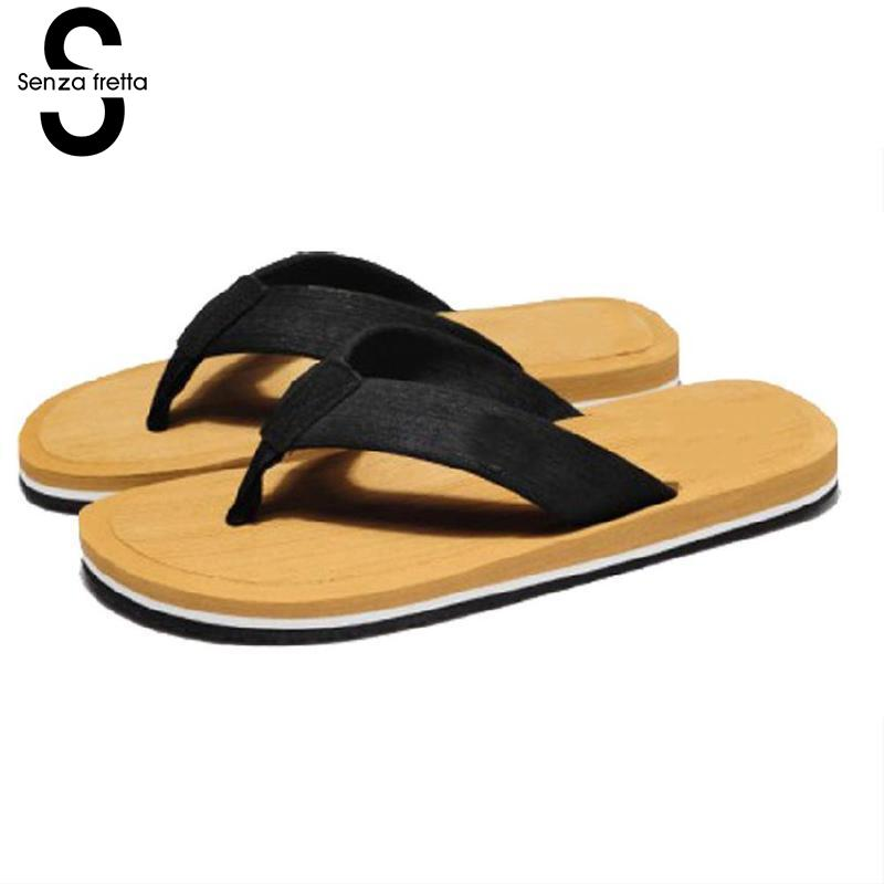 Senza Fretta Summer Men's Flip Flops Fashion Beach Sandals for Men Flat Slippers Non-slip Male 2018 New Shoes Sandals LDR9538 портативная колонка jbl flip 4 gray