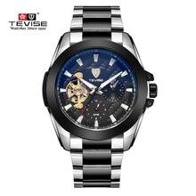 Los Hombres de lujo Reloj de la Marca TEVISE Tourbillon Calendario Resistente Al Agua Reloj Masculino Relojes Reloj Mecánico Automático Para Hombre Relojes de Pulsera