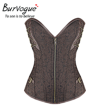 Burvogue Women Steampunk Bustiers Corsets Corselet  Brocade Buckle-up Top Steel Boned Overbust Corset Plus Size Free Shipping