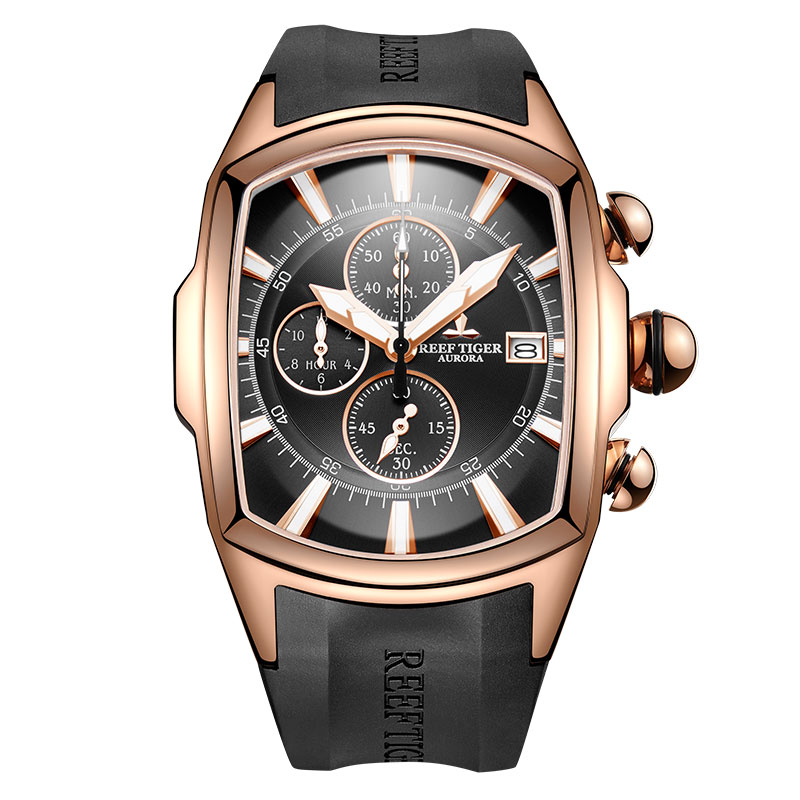 Reef Tiger/RT 2019 Luxury Waterproof Sport Watches Date Rose Gold Rubber Strap Military Mens Watches Relogio Masculino RGA3069-T 機械 式 腕時計 スケルトン