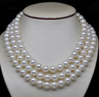 Noblest Triple Strand AAA 10 11 MM White Pearl Necklace Gold 17'' 18' 19''> jewerly free shipping