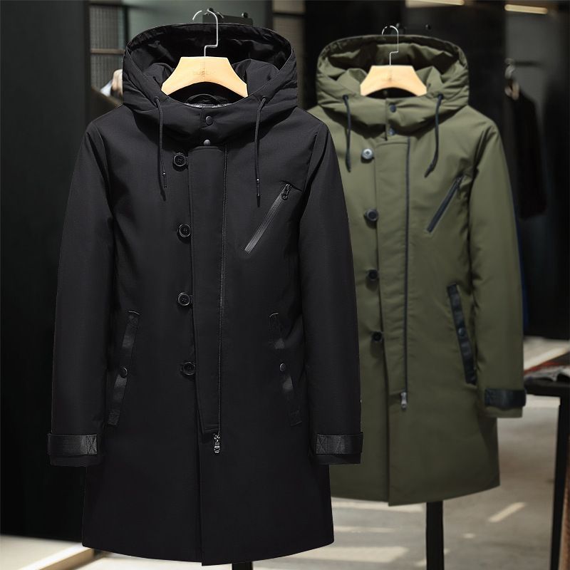 2018 Fashion Men Down Jacket 90% Duck Down Winter Thick Warm Long Business Casual Down Coat Brand European Size Down Coat -30c